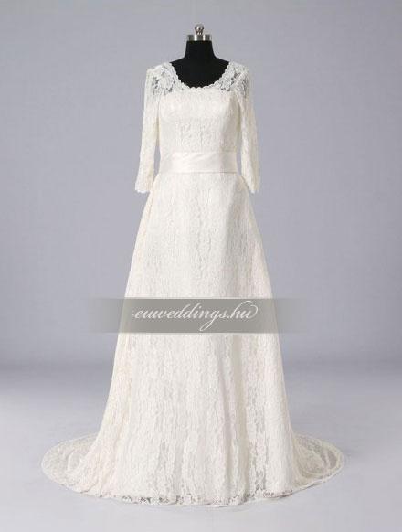 Menyasszonyi ruha A vonalú hosszú ujjú-AVH-347