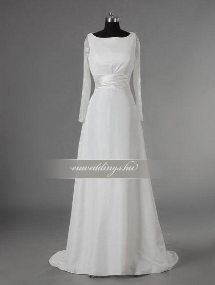 Menyasszonyi ruha A vonalú hosszú ujjú-AVH-352