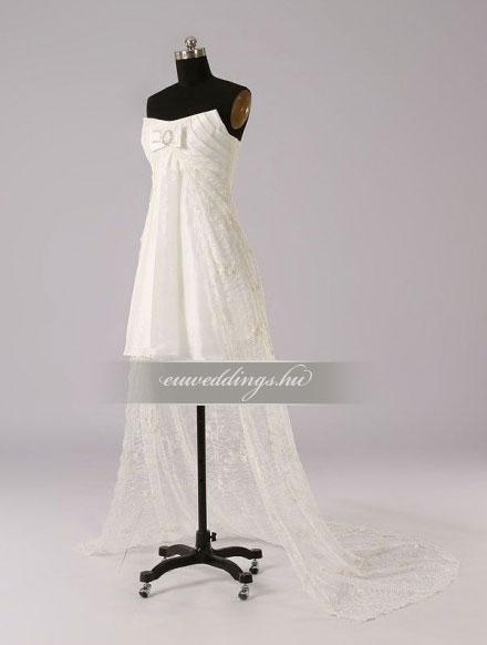 Menyasszonyi ruha aszimmetrikus ujjatlan-ARU-125