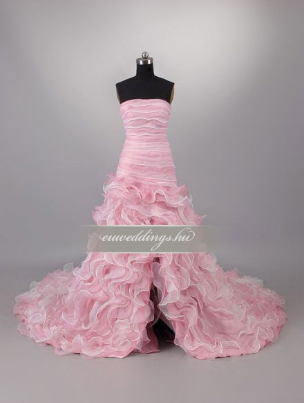 Menyasszonyi ruha aszimmetrikus ujjatlan-ARU-150