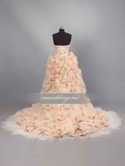 Menyasszonyi ruha aszimmetrikus ujjatlan-ARU-210