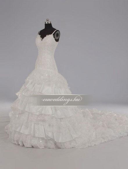 Menyasszonyi ruha csípőtől bővülő pántos-CBP-6615