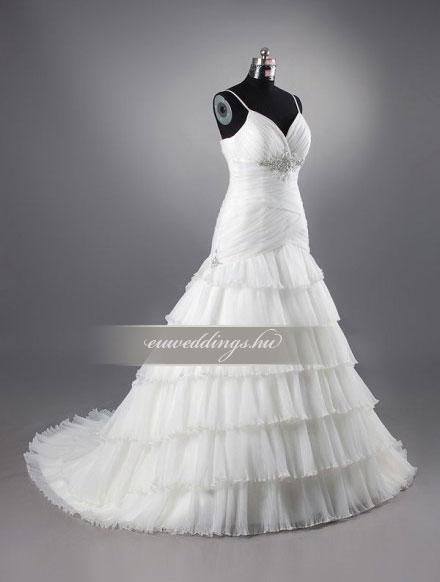 Menyasszonyi ruha csípőtől bővülő pántos-CBP-6620