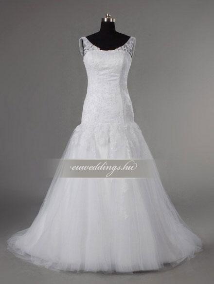 Menyasszonyi ruha csípőtől bővülő pántos-CBP-6687