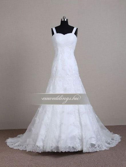 Menyasszonyi ruha csípőtől bővülő pántos-CBP-6716