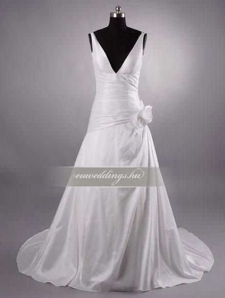 Menyasszonyi ruha csípőtől bővülő pántos-CBP-6793