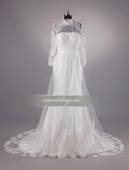 Esküvői ruha sellő fazonú hosszú ujjú-SFH-9962
