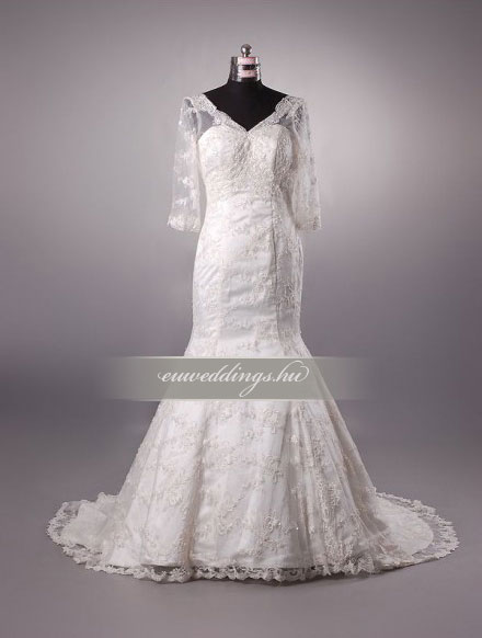 Esküvői ruha sellő fazonú hosszú ujjú-SFH-9972