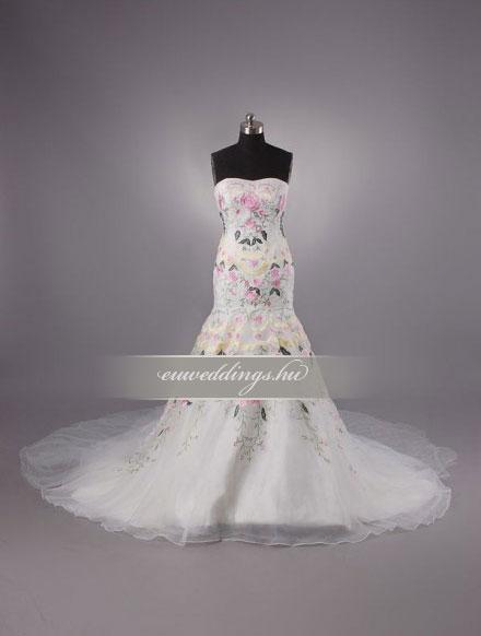 Menyasszonyi ruha sellő fazonú színes és mintás-SFS-10535