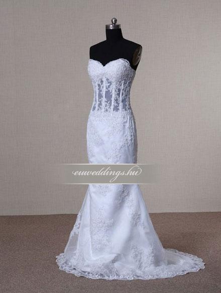 Menyasszonyi ruha sellő fazonú ujjatlan-SFU-11019