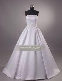 A-vonalú, ujjatlan menyasszonyi ruha